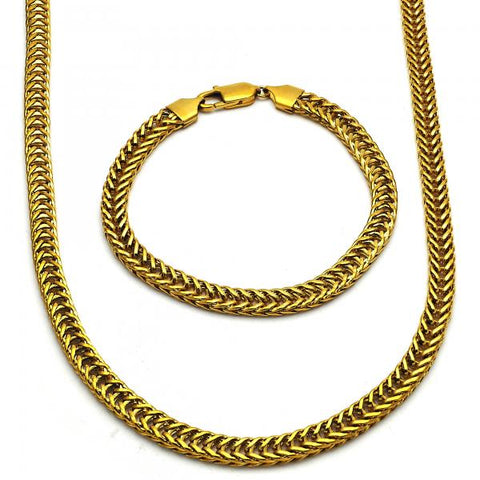 Stainless Steel 06.289.0007 Necklace and Bracelet, Polished Finish, Golden Tone