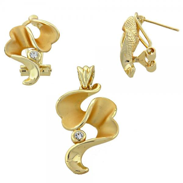 Gold Layered 10.59.0152 Earring and Pendant Adult Set, with White Crystal, Matte Finish, Golden Tone