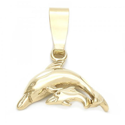 Gold Layered 5.180.037 Fancy Pendant, Dolphin Design, Polished Finish, Golden Tone