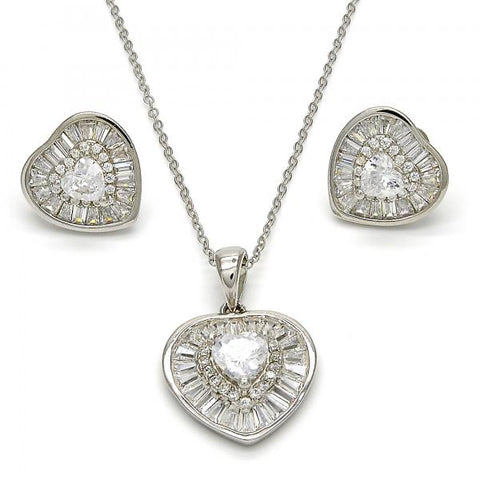 Sterling Silver 10.286.0020 Necklace and Earring, Heart Design, with White Cubic Zirconia, Polished Finish, Rhodium Tone