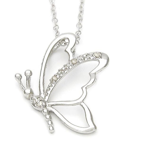 Sterling Silver 10.174.0166.18 Fancy Necklace, Butterfly Design, with White Cubic Zirconia, Polished Finish, Silver Tone