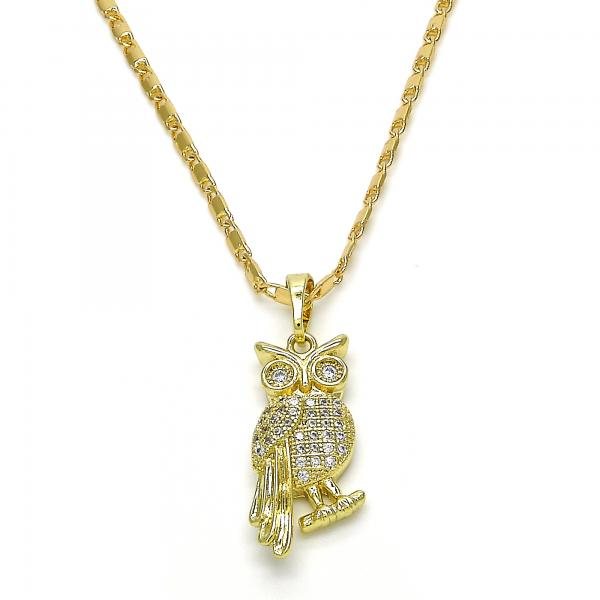 Gold Layered 04.26.0040.22 Fancy Necklace, Owl Design, with White Cubic Zirconia, Polished Finish, Golden Tone