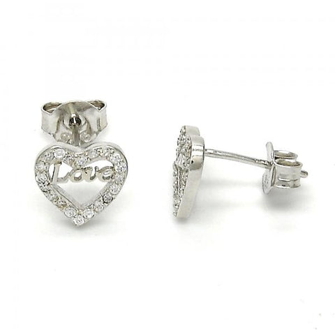 Sterling Silver 02.186.0035 Stud Earring, Heart and Love Design, with White Micro Pave, Polished Finish, Rhodium Tone