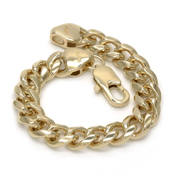 Gold Layered 04.63.0134.09 Basic Bracelet, Miami Cuban Design, Polished Finish, Golden Tone