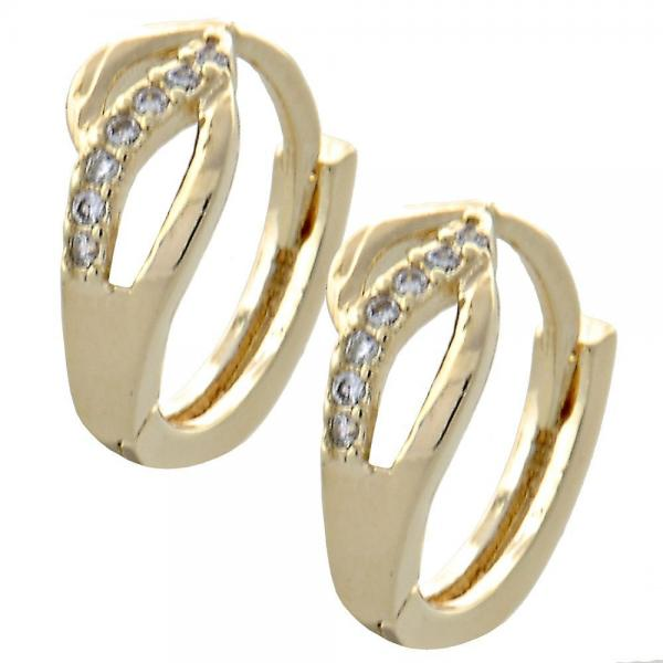 Gold Layered 02.155.0053 Huggie Hoop, with White Cubic Zirconia, Polished Finish, Golden Tone