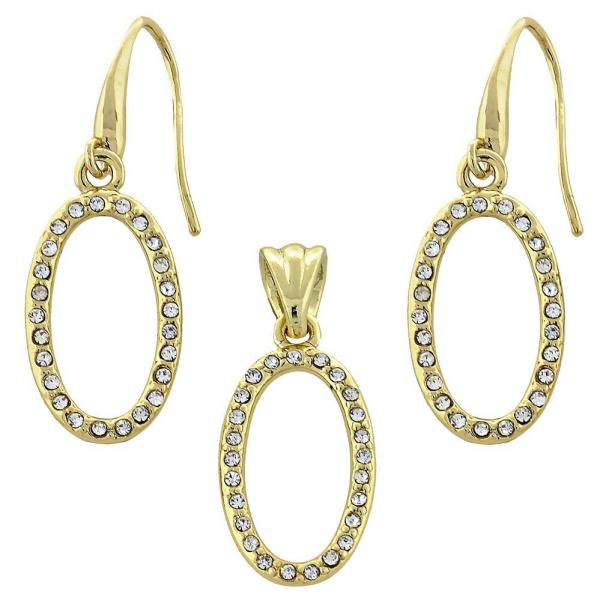 Gold Layered 10.59.0112 Earring and Pendant Adult Set, with White Crystal, Polished Finish, Golden Tone
