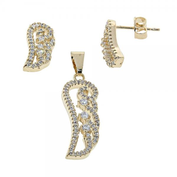 Gold Layered 10.155.0001 Earring and Pendant Adult Set, Leaf Design, with  Micro Pave, Golden Tone