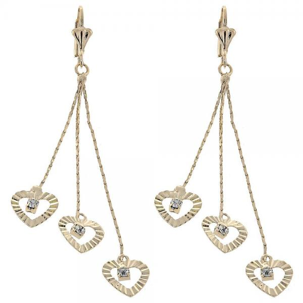 Gold Layered 02.165.0072 Long Earring, Heart Design, with White Cubic Zirconia, Diamond Cutting Finish, Golden Tone