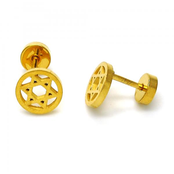 Stainless Steel 02.271.0018 Stud Earring, Star of David Design, Polished Finish, Golden Tone