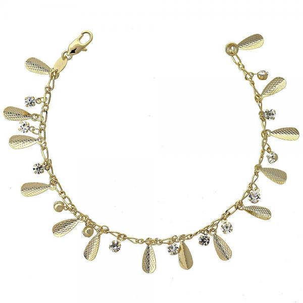 Gold Layered 5.031.001.07 Charm Bracelet, Teardrop Design, with White Cubic Zirconia, Diamond Cutting Finish, Golden Tone
