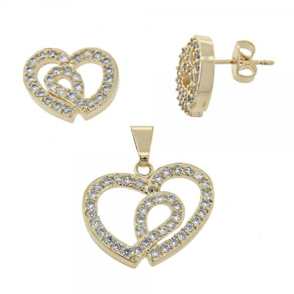 Gold Layered 10.155.0003 Earring and Pendant Adult Set, Heart Design, with White Cubic Zirconia, Polished Finish, Golden Tone