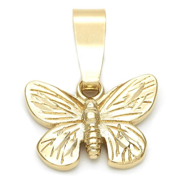 Gold Layered 5.180.019 Fancy Pendant, Butterfly Design, Diamond Cutting Finish, Golden Tone