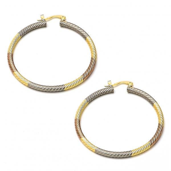 Gold Plated 02.70.0027.45 Large Hoop, Diamond Cutting Finish, Tri Tone