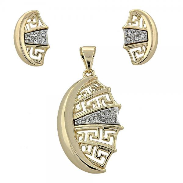 Gold Layered 10.91.0124 Earring and Pendant Adult Set, Greek Key Design, with White Crystal, Two Tone
