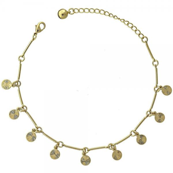 Gold Layered 03.63.0372 Charm Bracelet, Diamond Cutting Finish, Golden Tone
