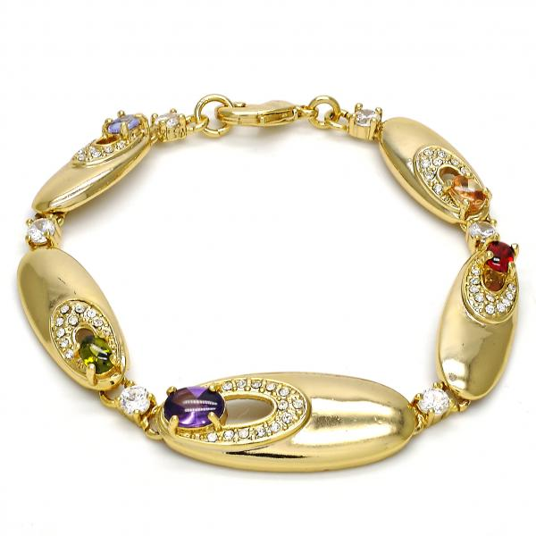 Gold Layered 03.59.0037.08 Fancy Bracelet, with Multicolor Cubic Zirconia and White Crystal, Polished Finish, Golden Tone