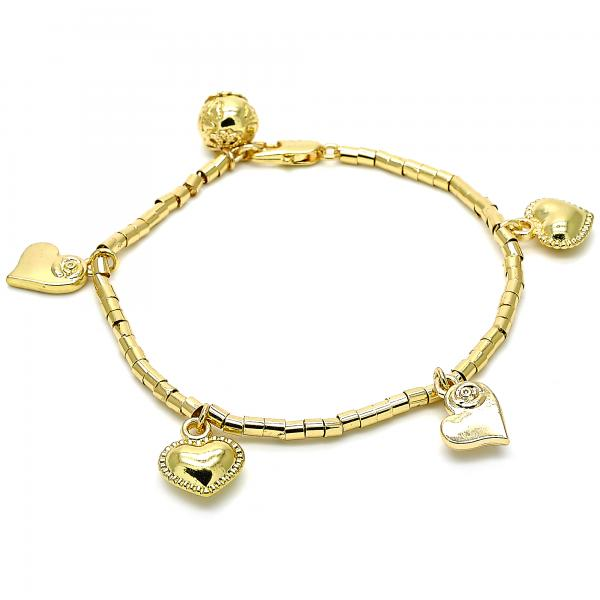 Gold Layered 03.179.0032.07 Charm Bracelet, Heart and Flower Design, Polished Finish, Golden Tone