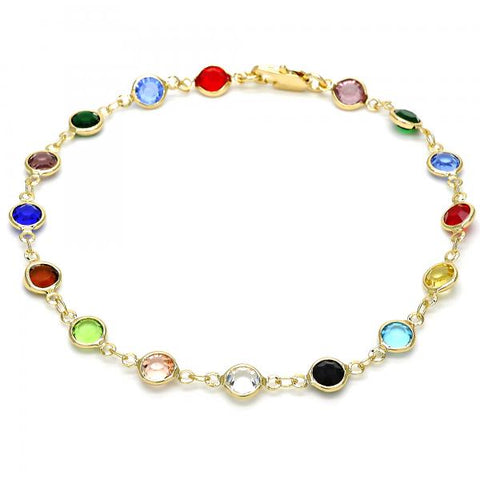 Gold Layered 03.326.0001.10 Fancy Anklet, with Multicolor Crystal, Polished Finish, Golden Tone