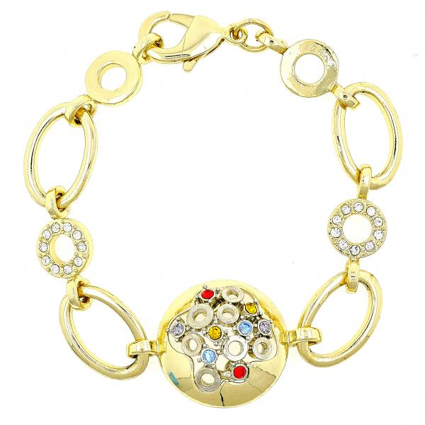 Gold Layered 03.59.0026.07 Fancy Bracelet, with Multicolor Crystal, Polished Finish, Golden Tone