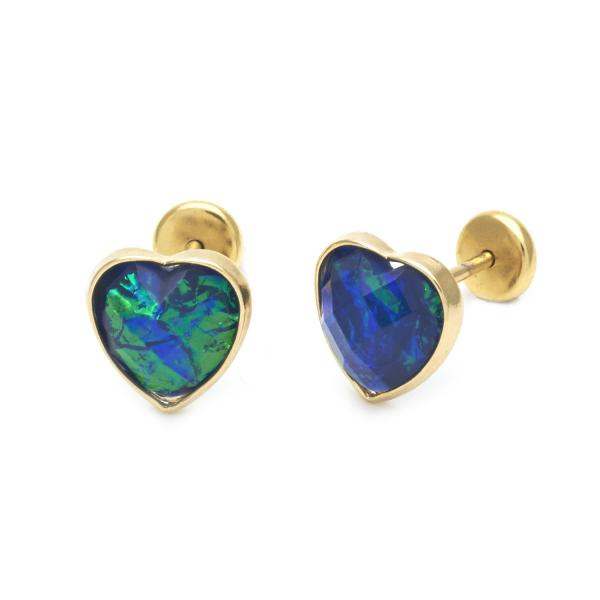 Gold Layered 02.09.0124 Stud Earring, Heart Design, with Sapphire Blue Opal, Polished Finish, Golden Tone