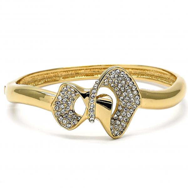 Gold Layered 07.59.0041 Individual Bangle, Bow Design, with White Crystal, Polished Finish, Golden Tone
