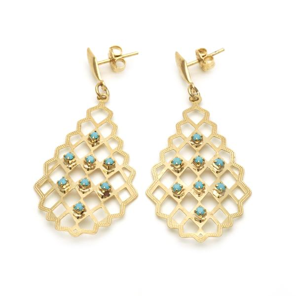 Gold Layered 02.09.0130 Dangle Earring, with Aquamarine Crystal, Diamond Cutting Finish, Golden Tone