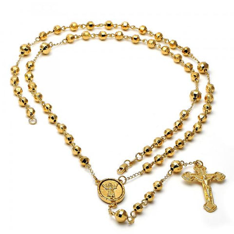 Gold Layered 5.202.006.30 Large Rosary, Crucifix and Divino Niño Design, Polished Finish, Golden Tone