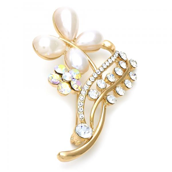 Gold Layered Basic Brooche, Flower and Butterfly Design, with Pearl and Crystal, Golden Tone
