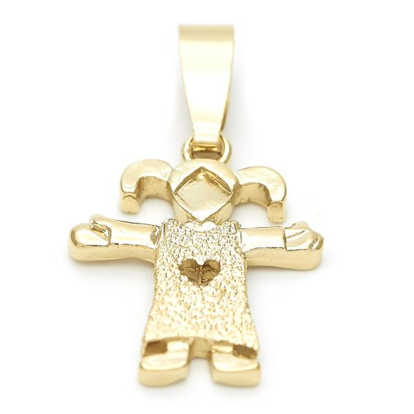 Gold Layered 5.183.035 Fancy Pendant, Little Girl and Heart Design, Matte Finish, Golden Tone