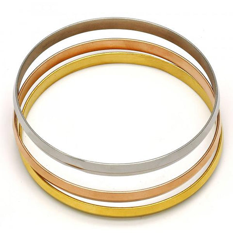Stainless Steel 07.244.0005.06 Trio Bangle, Polished Finish, Tri Tone (06 MM Thickness, Size 6 - 2.75 Diameter)
