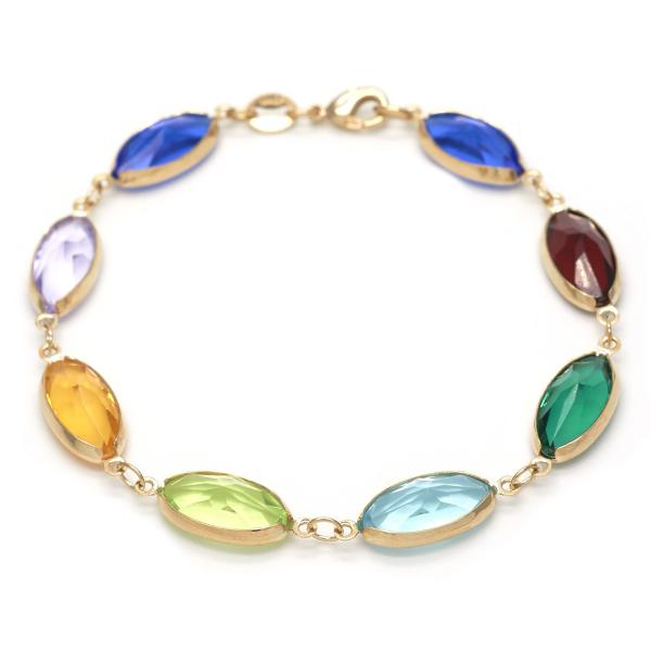 Gold Layered 03.32.0117.10 Fancy Anklet, with Multicolor Crystal, Polished Finish, Golden Tone