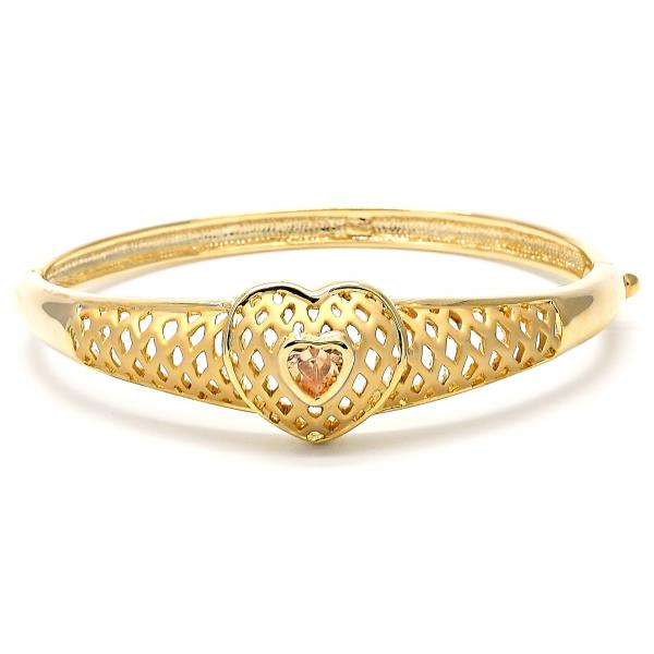 Gold Layered Individual Bangle, Heart Design, with Crystal, Golden Tone