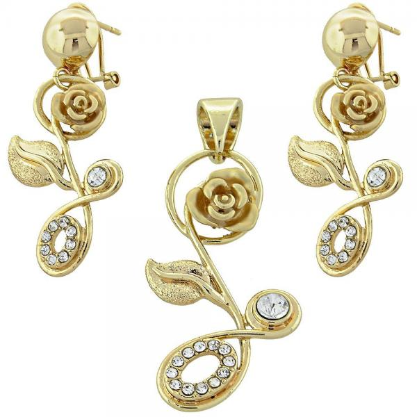 Gold Layered 5.051.005 Earring and Pendant Adult Set, Flower Design, with  Crystal, Golden Tone