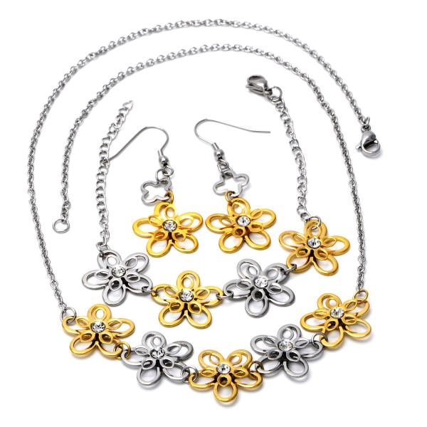 Stainless Steel 06.231.0024 Necklace, Bracelet and Earring, Flower Design, with White Crystal, Polished Finish, Two Tone