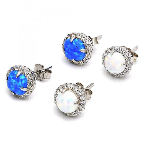 Sterling Silver Stud Earring, with Opal and Cubic Zirconia,