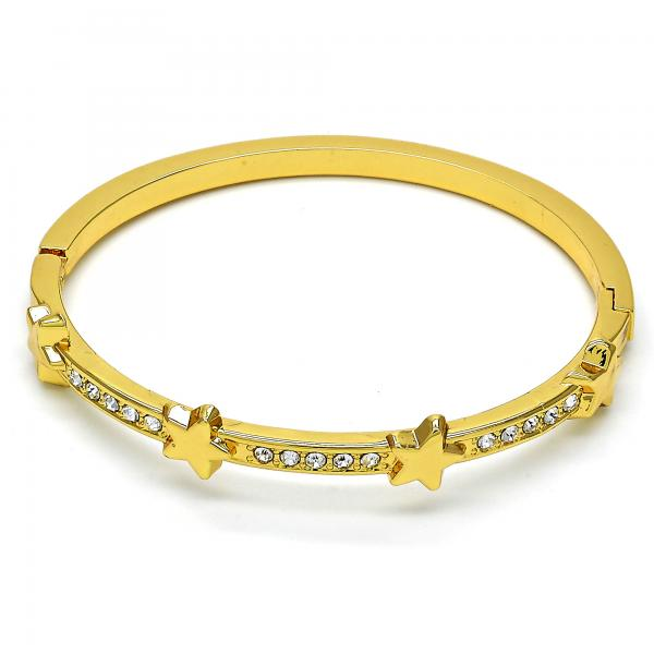 Gold Layered 07.252.0042.04 Individual Bangle, Star Design, with White Crystal, Polished Finish, Golden Tone (04 MM Thickness, Size 4 - 2.25 Diameter)