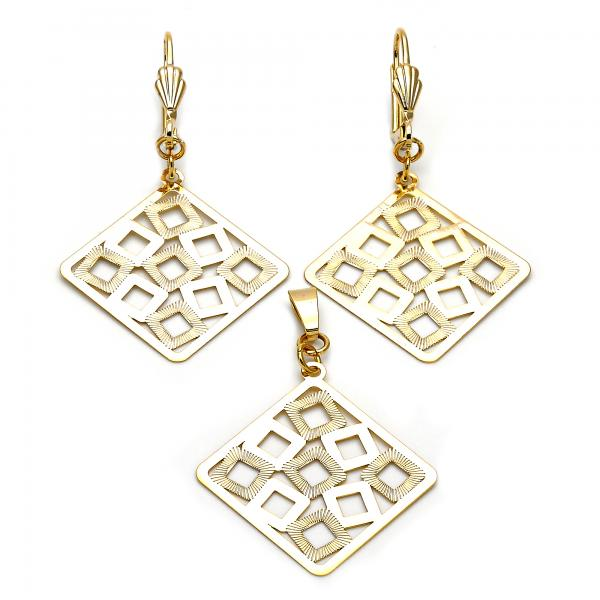 Gold Layered 011.005 Earring and Pendant Adult Set, Polished Finish, Golden Tone