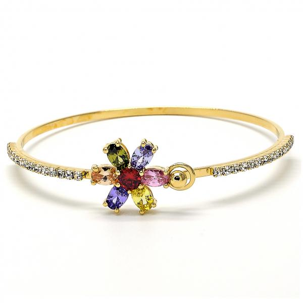 Gold Layered 07.97.0033 Individual Bangle, Flower Design, with Multicolor Cubic Zirconia and White Crystal, Polished Finish, Golden Tone (04 MM Thickness, Size 5 - 2.50 Diameter)