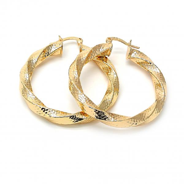 Gold Layered 02.170.0010.40 Medium Hoop, Hollow Design, Diamond Cutting Finish, Golden Tone