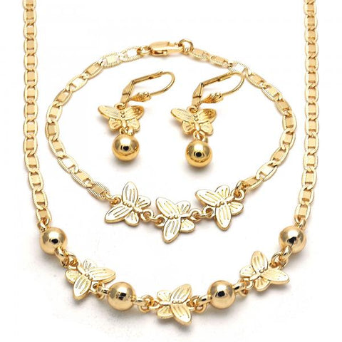 Gold Layered 06.63.0220 Necklace, Bracelet and Earring, Butterfly Design, Polished Finish, Golden Tone