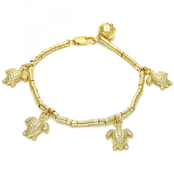 Gold Layered 03.179.0031.07 Charm Bracelet, Turtle Design, Polished Finish, Golden Tone
