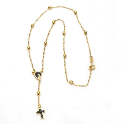 Gold Layered 5.212.010.18 Medium Rosary, Black Enamel Finish, Golden Tone