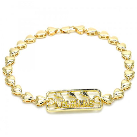 Gold Layered 03.63.1854.10 Fancy Anklet, Dolphin and Heart Design, Polished Finish, Golden Tone