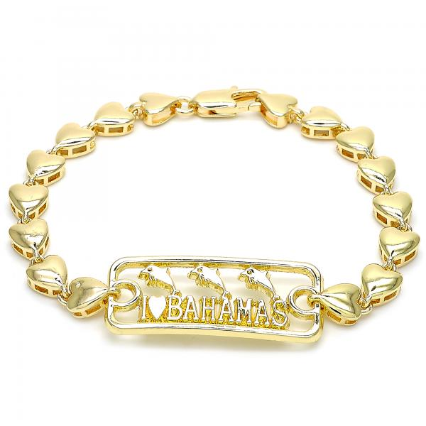 Gold Layered 03.63.1854.07 Fancy Bracelet, Dolphin and Heart Design, Polished Finish, Golden Tone