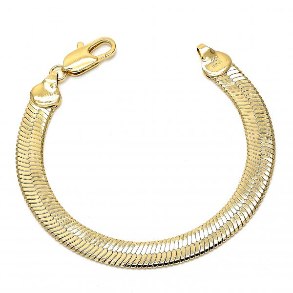 Gold Layered 03.63.0641 Basic Bracelet, Rat Tail Design, Polished Finish, Golden Tone