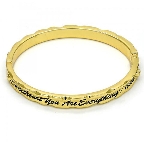 Gold Tone 07.252.0030.05.GT Individual Bangle, Heart Design, Black Enamel Finish, Golden Tone (07 MM Thickness, Size 5 - 2.50 Diameter)