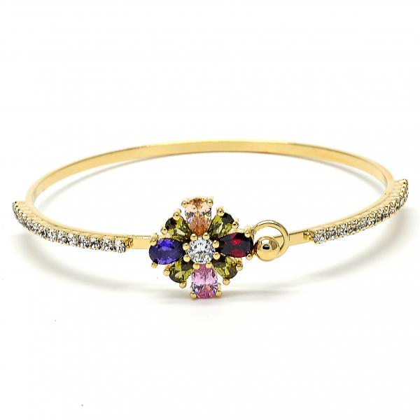 Gold Layered 07.97.0045 Individual Bangle, Flower Design, with Multicolor and White Cubic Zirconia, Polished Finish, Golden Tone (03 MM Thickness, Size 5 - 2.50 Diameter)
