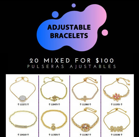 20 Adjustable Bracelets ($5.00 ea) Assorted Mixed Styles