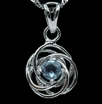 Blue Sapphire Swirl Halo with White Sterling Silver