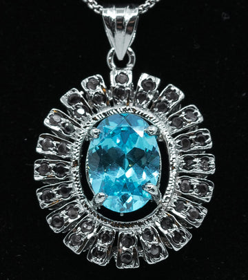 Genuine Blue Topaz & White Sterling Silver Pendant Necklace